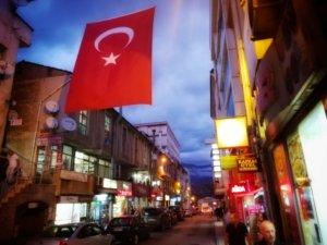 トルコ国旗と夜の街