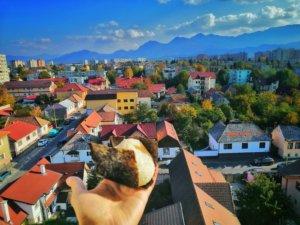 おにぎりとルーマニアの街