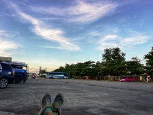 タイとミャンマーの国境で見た夕陽