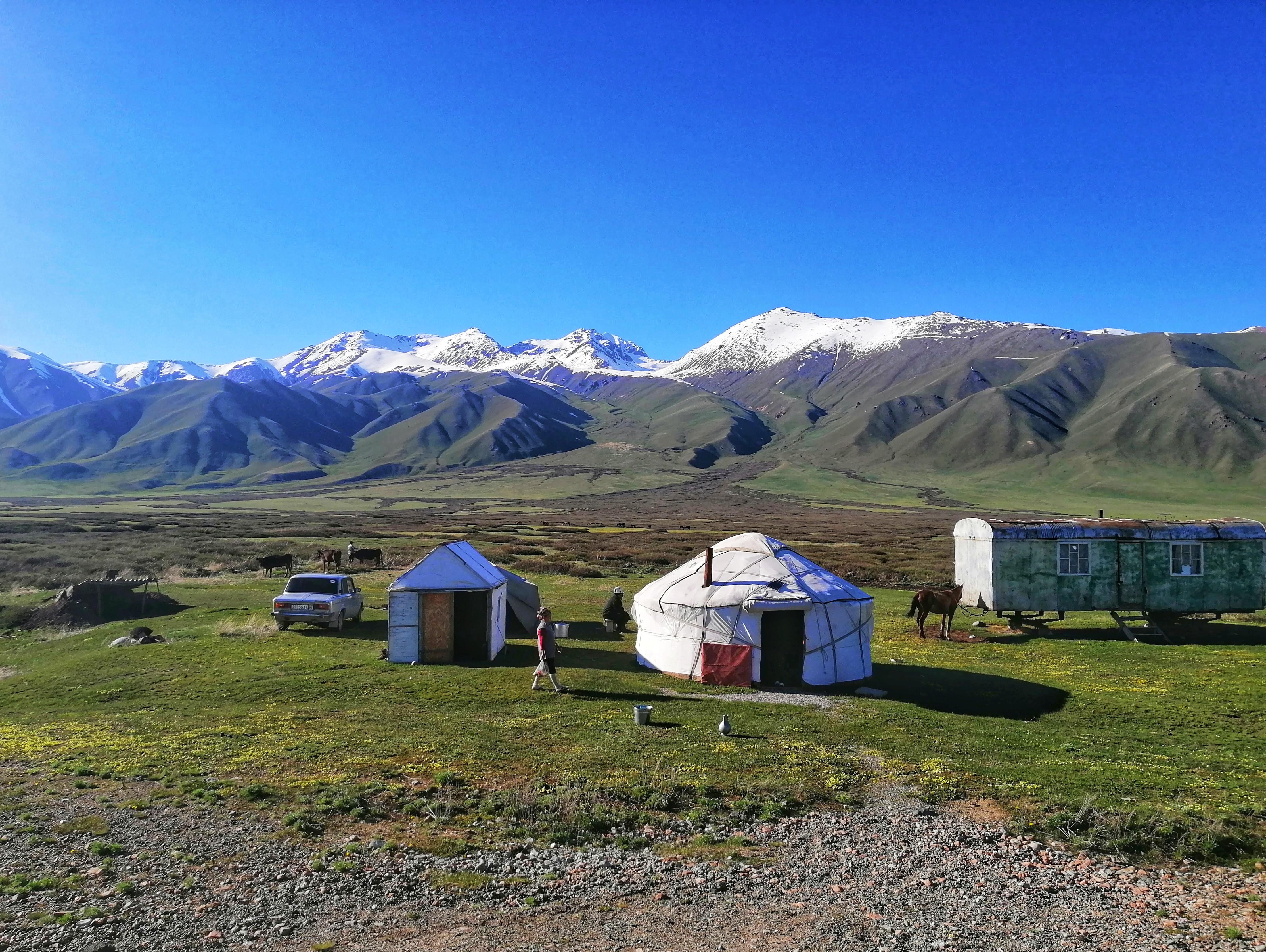 山々と遊牧テント