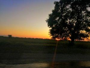 草原に沈む夕日
