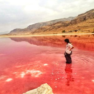 ピンクレイクに佇む男,A man standing in the pink lake