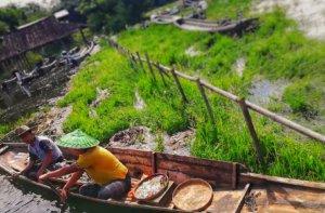 小舟を漕ぎながら物を売る男性