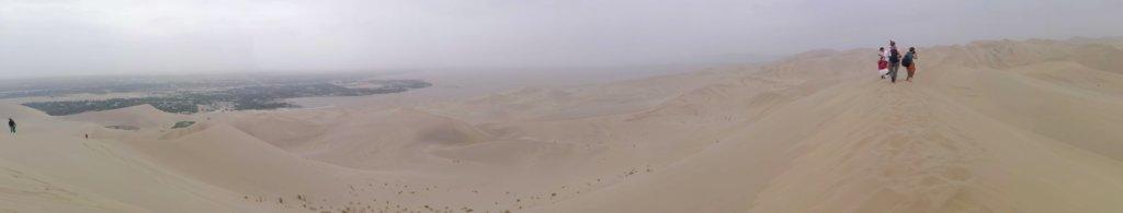 パノラマ撮影の敦煌砂漠