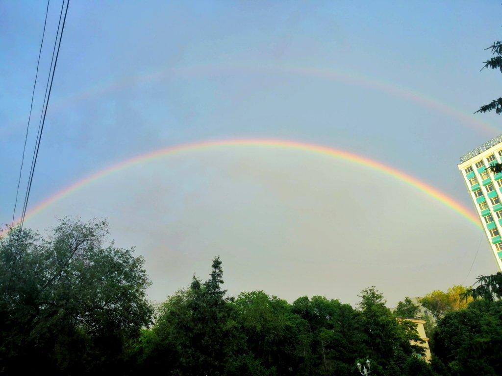 アルマトイでみた二重の虹