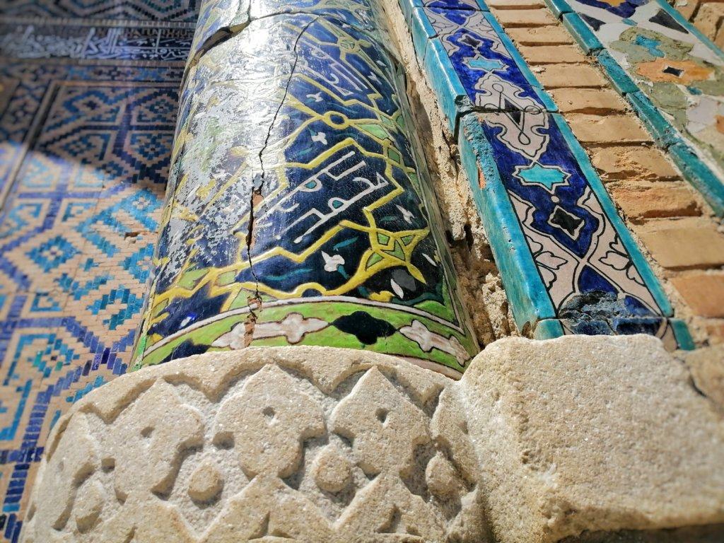 サマルカンド:青いモスクのドアップ