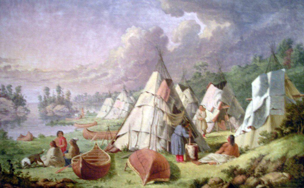 画像:オジブワ族の様子・アメリカ