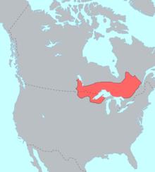 画像:オブジワ族の分布・アメリカ・カナダ
